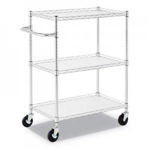 "Alera 3-Shelf Wire Cart with Liners, 34 1/2"" x 18"" x 40"", Silver, 600 lbs Capacity ALESW333018SR"