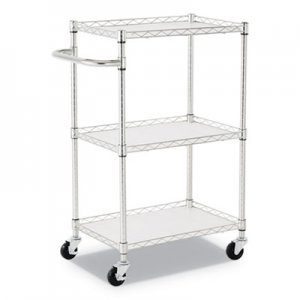 Alera 3-Shelf Wire Cart with Liners, 24w x 16d x 39h, Silver, 500-lb Capacity ALESW322416SR