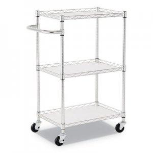 "Alera 3-Shelf Wire Cart with Liners, 28 1/2"" x 16"" x 39"", Silver, 500 lbs Capacity ALESW322416SR"