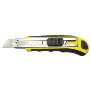 Boardwalk Rubber-Gripped Retractable Snap Blade Knife, Straight-Edged, Black/Yellow BWKUKNIFE25
