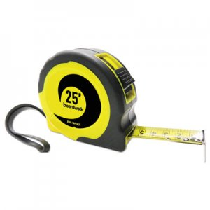 "Boardwalk Easy Grip Tape Measure, 25 ft, Plastic Case, Black and Yellow, 1/16"" Graduations BWKTAPEM25"