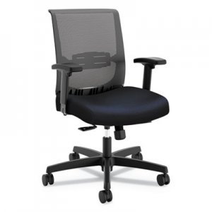 HON Convergence Mid-Back Task Chair with Syncho-Tilt Control/Seat Slide, Supports up to 275 lbs., Navy Seat, Black