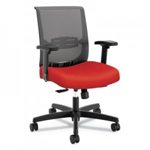 HON Convergence Mid-Back Task Chair with Syncho-Tilt Control with Seat Slide, Supports up to 275 lbs., Red Seat