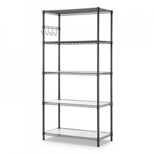 Alera 5-Shelf Wire Shelving Kit with Casters and Shelf Liners, 36w x 18d x 72h, Black Anthracite ALESW653618BA