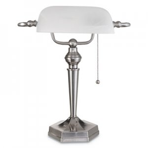"Alera Banker's Lamp, Post Neck, 16"" High, Brushed Nickel ALELMP538BN"