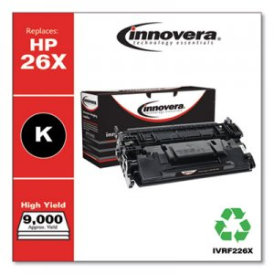 Innovera Remanufactured Black High-Yield Toner Cartridge, Replacement for HP 26X (CF226X), 9,000 Page-Yield IVRF226X