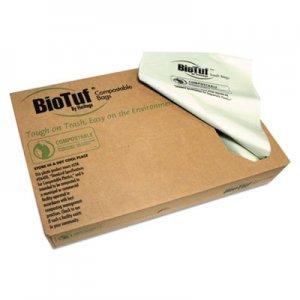 """Heritage Biotuf Compostable Can Liners, 64 gal, 0.8 mil, 47"""" x 60"""", Green, 125/Carton HERY9460EER01 Y9460EE R01"""