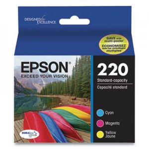 Epson T220520S (220) DURABrite Ultra Ink, 165 Page-Yield, Cyan/Magenta/Yellow EPST220520S T220520S