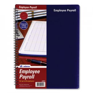 Adams Employee Payroll Record Book, Royal Blue Cover, 11 x 8.5, 112 Pages ABFAFR51 AFR51