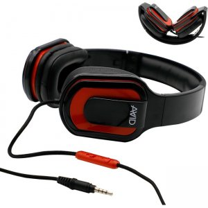 Avid AE-66 Foldable Over Ear Headset w/ In Line Microphone, Red 2EDU-MD66RD-SS32