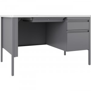 Lorell Fortress White/Platinum Steel Teachers Desk 66940 LLR66940