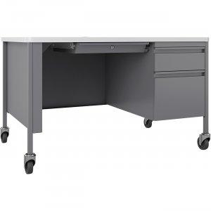 Lorell Fortress White/Platinum Steel Teachers Desk 66944 LLR66944