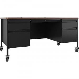Lorell Fortress Series Walnut Top Teacher's Desk 66945 LLR66945