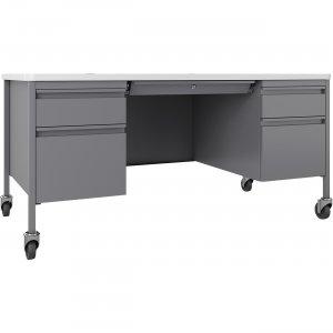 Lorell Fortress White/Platinum Steel Teachers Desk 66946 LLR66946