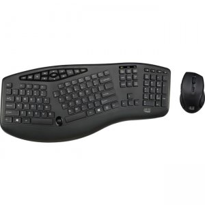 Adesso TruForm Media 1600 - Wireless Ergonomic Keyboard and Optical Mouse WKB-1600CB