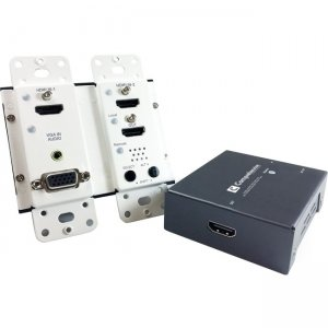 Comprehensive HDBaseT Wall Plate Extender TX/RX Kit (up to 230ft) with HDMI, VGA and Audio CHE-HDBTWP230K