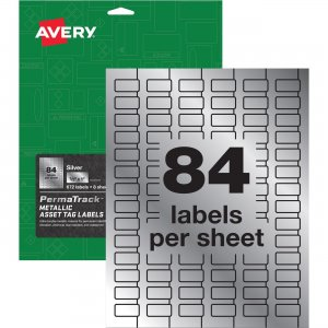 Avery PermaTrack Metallic Silver Asset Tag Labels 60519 AVE60519