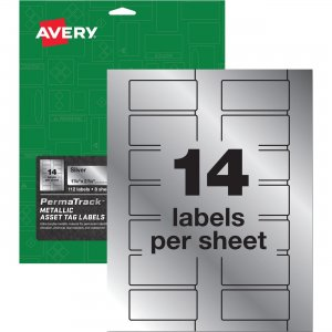 Avery PermaTrack Metallic Silver Asset Tag Labels 61528 AVE61528