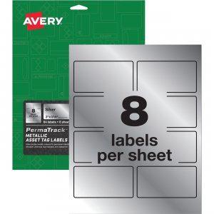 Avery PermaTrack Metallic Silver Asset Tag Labels 61520 AVE61520