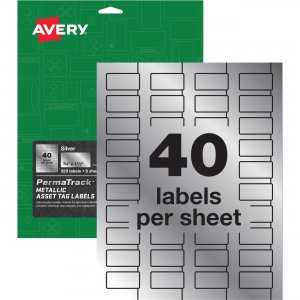 Avery PermaTrack Metallic Silver Asset Tag Labels 61523 AVE61523