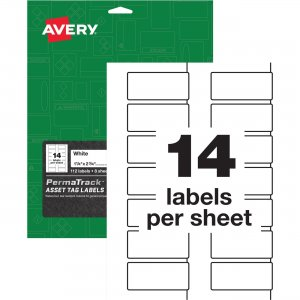 Avery PermaTrack White Asset Tag Labels 61529 AVE61529