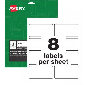 Avery PermaTrack White Asset Tag Labels 61530 AVE61530