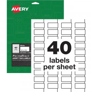 Avery PermaTrack White Asset Tag Labels 61525 AVE61525
