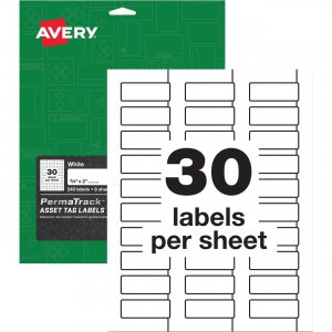 Avery PermaTrack White Asset Tag Labels 61526 AVE61526