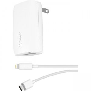 Belkin BOOST↑CHARGE USB-C + USB-A Wall Charger 30W + USB-C to Lightning Cable F7U097DQ04-WHT