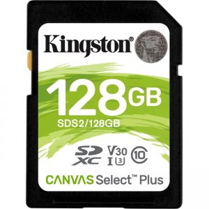 Kingston Canvas Select Plus SD Card For HD 1080p And 4K Video Cameras SDS2/128GB