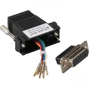 Black Box Modular Adapter Kit - DB15 Female to RJ45 Female With Thumbscrews, Black FA4515F-BK