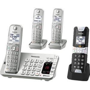 Panasonic Link2Cell Bluetooth Cordless Phone with Rugged Phone - 4 Handsets KX-TGE484S2