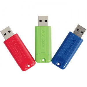 Verbatim 128GB PinStripe USB 3.0 Flash Drive - 3pk - Red, Green, Blue 70390