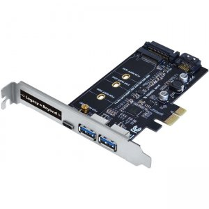 SIIG USB 3.0 Type-C & Type-A 3-Port PCIe Card with M.2 SATA SSD Adapter LB-US0414