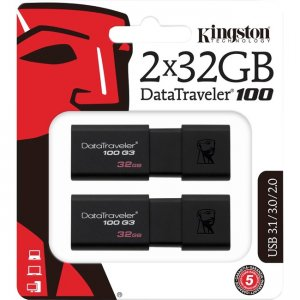 Kingston DataTraveler 100 G3 USB Flash Drive DT100G3/32GB-2P
