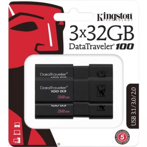 Kingston DataTraveler 100 G3 USB Flash Drive DT100G3/32GB-3P