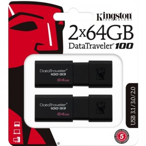 Kingston DataTraveler 100 G3 USB Flash Drive DT100G3/64GB-2P