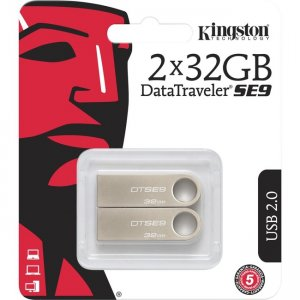 Kingston 32GB USB 2.0 DataTraveler SE9 (Metal casing) (2 Pack) DTSE9H/32GB-2P