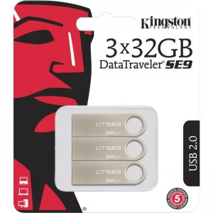 Kingston 32GB USB 2.0 DataTraveler SE9 (Metal casing) (3 Pack) DTSE9H/32GB-3P