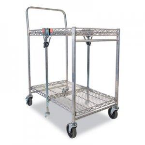 Bostitch Stowaway Folding Carts, 2 Shelves, 29.63w x 37.25d x 18h, Chrome, 250 lb Capacity BOSBSACSMCR BSAC-SM