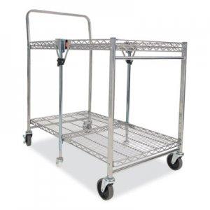 Bostitch Stowaway Folding Carts, 2 Shelves, 35w x 37.25d x 22h, Chrome, 250 lb Capacity BOSBSACLGCR BSAC-LG-CHROME