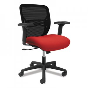 HON Gateway Mid-Back Task Chair with Adjustable Arms, Supports Up to 250 lbs, Ruby Seat, Black Back, Black Base