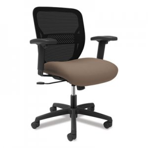 HON Gateway Mid-Back Task Chair with Adjustable Arms, Supports Up to 250 lbs, Morel Seat, Black Back, Black Base