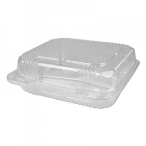 Durable Packaging Plastic Clear Hinged Containers, 8 x 8, 3-Compartment, 5 oz; 5 oz; 15 oz, Clear, 250/Carton