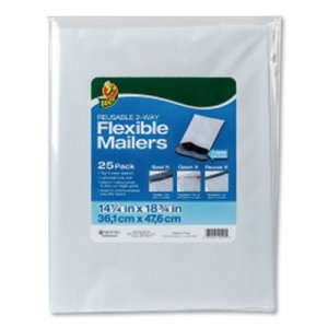 Duck Reusable 2-Way Flexible Mailers, Self-Adhesive Closure, 14.25 x 18.75, White, 25/Pack DUC286340 286340