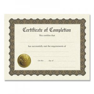 Great Papers! Ready-to-Use Certificates, 11 x 8.5, Ivory/Brown, Completion, 6/Pack COS930400 930400