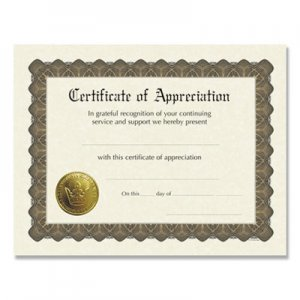 Great Papers! Ready-to-Use Certificates, 11 x 8.5, Ivory/Brown, Appreciation, 6/Pack COS930000 930000