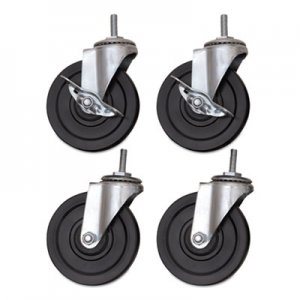 Alera Optional Casters for Wire Shelving, 200 lbs/Caster, Gray/Black, 4/Set ALESW690004 SW690004