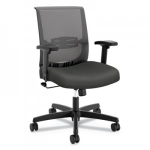 HON Convergence Mid-Back Task Chair with Swivel-Tilt Control, Supports up to 275 lbs, Iron Ore Seat, Black Back