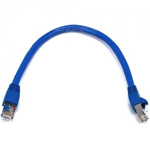 Monoprice 1FT 24AWG Cat6A 500MHz STP Ethernet Bare Copper Network Cable - Blue 5898